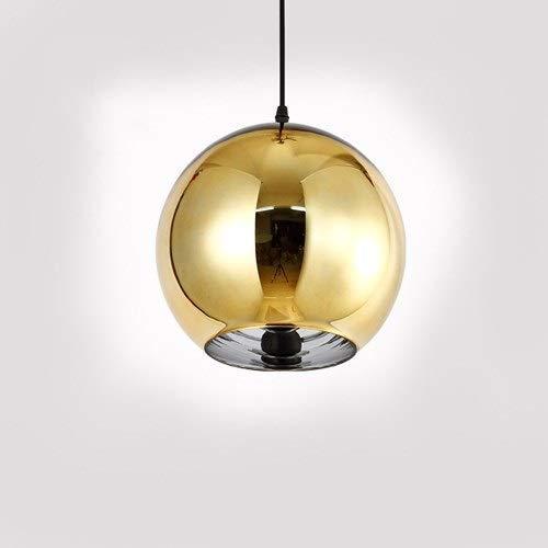 Lámpara colgante de techo con bola de espejo nórdica revestimiento creativo simple accesorio de decoración de techo de Halloween de Navidad candelabro de bola de cristal posmoderno cromado c