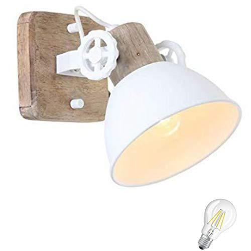 STEINHAUER 7968 W, faretto da soggiorno, cucina, camera da letto, lampada da soffitto vintage, lampada da parete da 1 fl con filamento Edison vintage in legno (7968 W incl. LED)