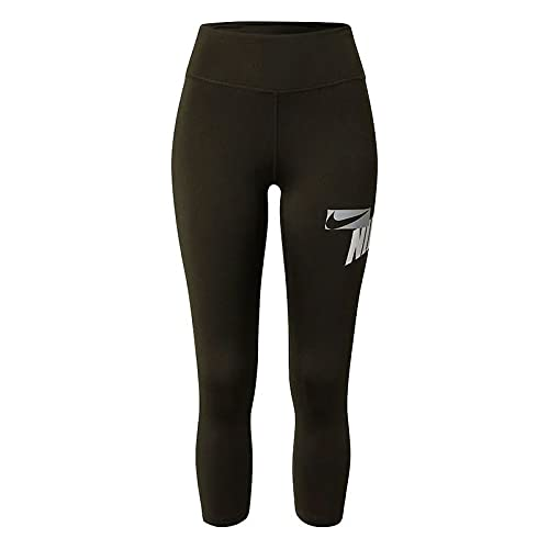 Nike One Cropped Graphic - Leggings para mujer, color negro, azul y rojo Negro/Lt Photo Blue/Chile Red XS