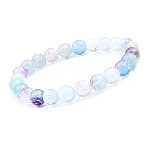 UEUC - Pulsera de piedras preciosas naturales para mujeres y hombres, piedras preciosas de chakra de 8 mm con perlas redondas de cristal de cuarzo, pulsera extensible (#4)