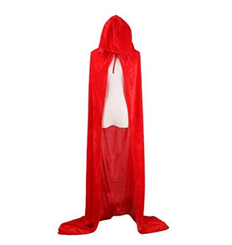 CHSYOO mantello rosso con cappuccio mantello lungo con cappuccio per Halloween costume party strega diavolo vampiro cosplay fancy dress