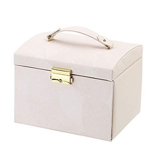 3 cajón gabinete espejo caja de joyería joyería caja de joyería rosa caja de almacenamiento caja de joyería portátil con bloqueo y espejo para pulsera pendiente anillo collar ( Color : Nude pink )
