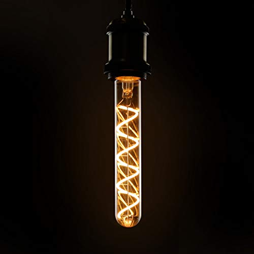 GBLY LED Edison Glühbirne Röhrenlampe E27 Vintage Glühlampe in Röhrenform 180mm Goldfarbe tube Warmweiß Spirale Filament Antike Nostalgie und Retro Beleuchtung für Haus Café Bar Party, nicht dimmbar