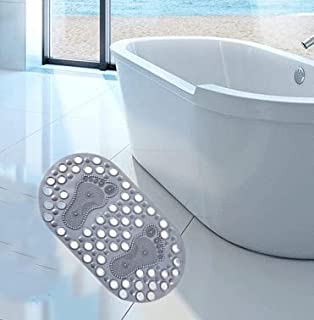 Gray Foot Scrubber Mat, Shower Foot Massager with Non Slip Suction Cups - Cleans, Massages Soothe Achy Feet Without Bendin...
