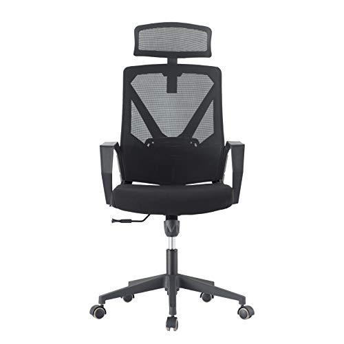 DAVEJONES Office Chair High Back Mesh Computer Rolling Desk Chair, Pure Memory Foam Adjustable Headrest Lumbar Support PU Caster Ergonomic Swivel Gaming Chair (Black)