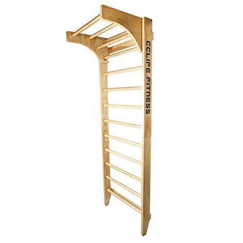 CCLIFE Sprossenwand Kletterwand Turnwand höhenverstellbare Klimmzugstange Klettergerüst Holz Kinder Indoor Erwachsener, Farbe:Mit Klimmzugstange