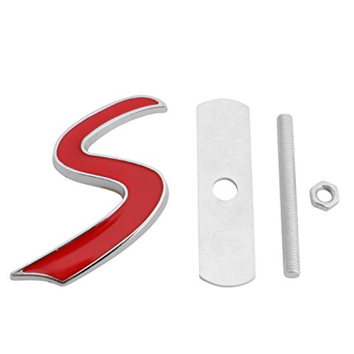 niumanery 3D Metal S Front Grille Badge Emblem Decal For Mini Cooper R50 R52 R53 R56 R57