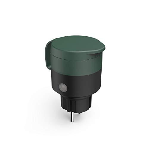 Hama WLAN Steckdose Outdoor (Gartensteckdose ohne Hub/Gateway, WLAN Außensteckdose zur App- und Sprachsteuerung von Außenbeleuchtung, Gartengeräten, Bewässerung,wetterfest IP44,2300W,10A) schwarz/grün