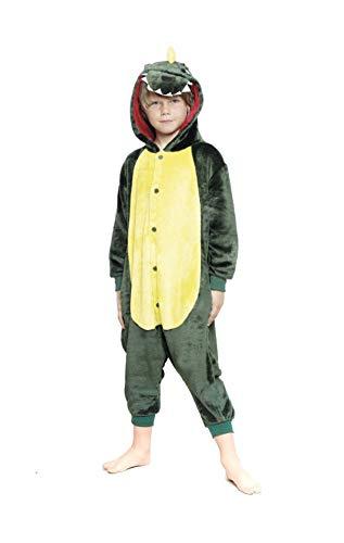 H HANSEL HOME Pijama Dinosaurio Entero Infantil niño niñas de Dibujos Animado Disfraces Animales Carnaval Halloween Cosplay Ropa de Dormir. 100% Poliéster 10-12 años