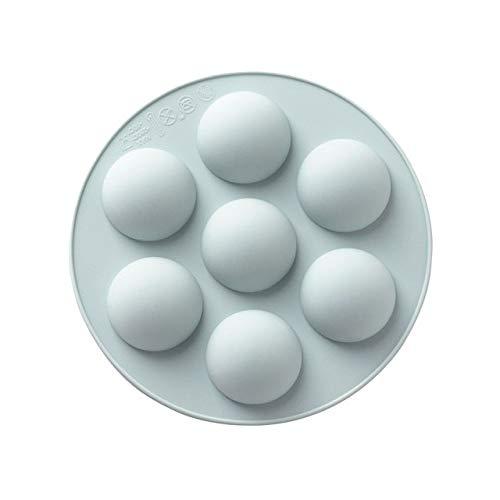 7 agujeros Molde de chocolate Esfera de media bola Molde de pastel de silicona Forma de bola de fútbol Molde de caramelo de chocolate Utensilios para hornear de cocina Gadgets-China, Azul