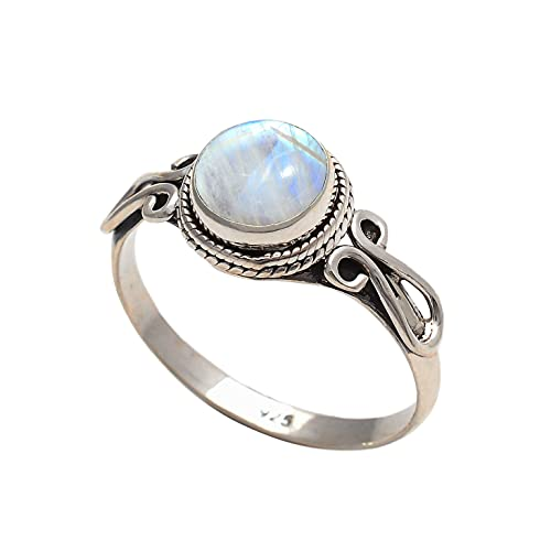Rainbow Moonstone Ring Size US 8- Sterling Silver Rings For Girl Women christmas gifts Jewelry