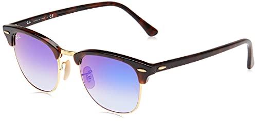 Ray-Ban Clubmaster, Gafas de Sol Unisex, Multicolor (Marco: Rojo Havana ,Vidrio: Azulado 990/7Q), 51 milímetros