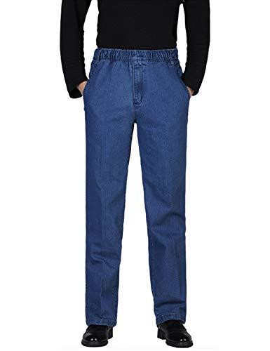 Locachy Men's Elastic Waist Denim Pants Casual Loose Straight Jeans #1 Light Blue 38
