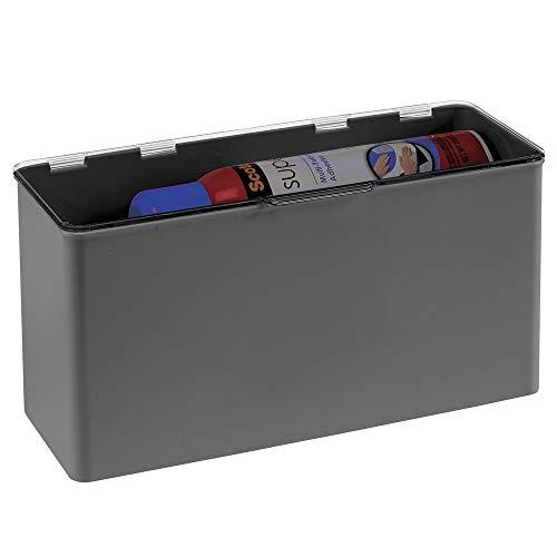 mDesign Opbergdoos van BPA-vrij kunststof, stapelbare plastic doos met deksel voor keuken, of badkamer, veelzijdig bruikbare opbergdoos leigrijs/doorzichtig