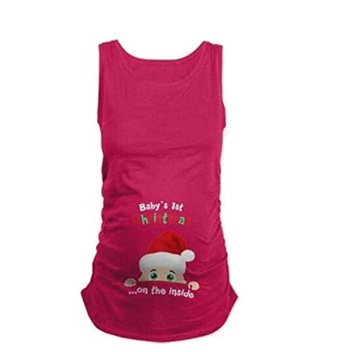 Umstandskleidung Damenbekleidung Kinder Weihnachtsmütze Englisch Druck Weste Rundhals Größe Ärmelloses Shirt Für Schwangere - Rot_XXL