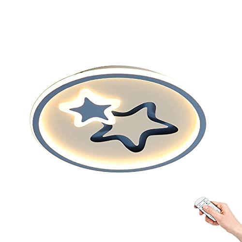 Lámpara de techo LED habitación infantil dibujos animados Luces de techo metal estrella creativa Focos Techo dormitorio redondo azul 45W Regulable mediante mando a distancia Niño decorando luces
