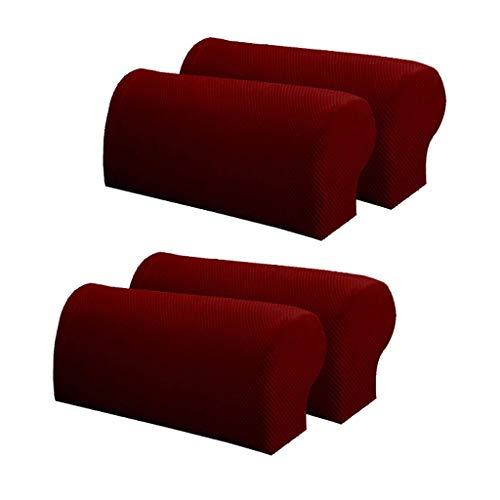 Baoblaze Protector de Cubierta de Reposabrazos de Muebles de Tela Elástica, Franela a Cuadros, Juego de 4