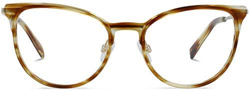 Brille mit wählbare Sehstärke (inkl. Zylinder)   Claire   Cat-eye Brille aus Metall mit italienischem Acetat   Hellbraun   Charlie Temple