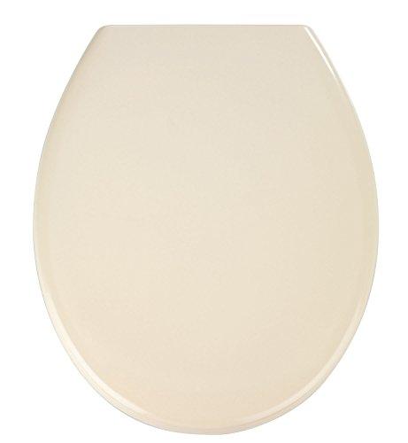 WENKO WC-Sitz Ottana Beige, hygienischer Toilettensitz mit Absenkautomatik, WC-Deckel mit Fix-Clip Befestigung, aus antibakteriellem Duroplast
