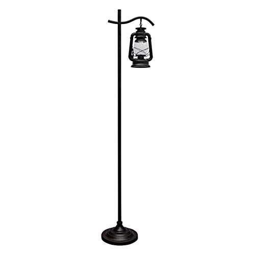 Floor Lights Industrial Floor Lamp Hanging Glass Shade Vintage Hang Standing Lamp Retro Rustic Indoor Pole Tall Light for Living Room, Office, Bedroom,black Tall Pole Lamp ( Color : 1 lamp holder )