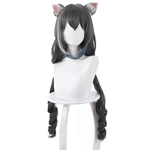 Re: buceo: Kyaru, orejas de gato gradual, peluca de cosplay de cola de caballo rizada larga, cosplay anime, peluca de moda femenina para ferias de anime y fiestas de Halloween, regalos para fanáticos