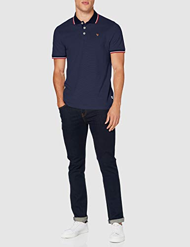 Jack & Jones Men's JPRBLUWIN Polo SS STS Shirt, Blazer Navy, L