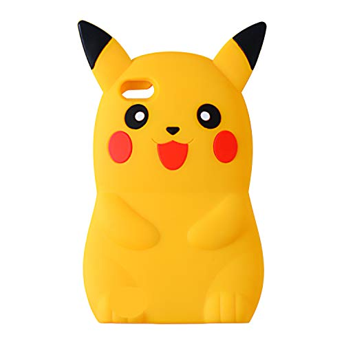 Liangxuer Yellow Pikachu Case for iPhone SE/5/5C/5S,Soft 3D Silicone Cute Animal Rubber Cover,Kawaii Cartoon Gel Girls Kids Cases.Fun Character Shockproof Protector Skin Shell for iPhone5