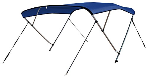 """Leader Accessories Pacific Blue 4 Bow 8'L x 54"""" H x 91""""-96"""" W Bimini Top Cover 4 Straps for Front and Rear Includes Mounting Hardwares with 1 Inch Aluminum Frame"""