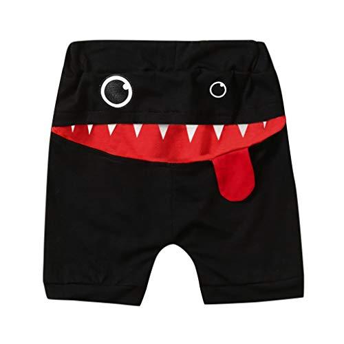 Tyoby Baby Jungen Mode Dreidimensionale Shorts Drucken Große Zunge Pluderhosen Cartoon-Shorts(Schwarz,110)