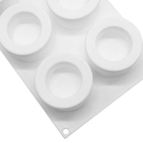 Dinggaoyikang Molde de silicona para tartas con 6 agujeros, molde para hornear para tartas de silicona de pudines de taza moldes reutilizables de silicona para hornear magdalenas