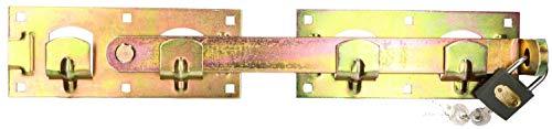 KOTARBAU® Doppeltorüberwurf Links Rechts mit Vorhängeschloss Gartendoppeltor-Überwurf Torriegel Torverschluss Schlagladenüberwurf Torverrieglung Riegel