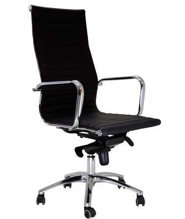 hjh OFFICE 660500 Sedia da ufficio / Sedia presidenziale PARMA 20 pelle nero, per uso intensivo, con braccioli in cromo, regolabile in altezza, ergonomica, alta qualità, schienale alto, schienale reclinabile