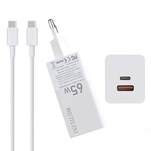 WHSTELENI 65W USB C Cargador GAN Tech para MacBook Pro 13 Huawei Matebook Lenovo ASUS HP DELL Acer Chromebook Alimentación Adaptador iPad iPhone Smartphone con 1.5 m 20V 100W Cable 2 Ports