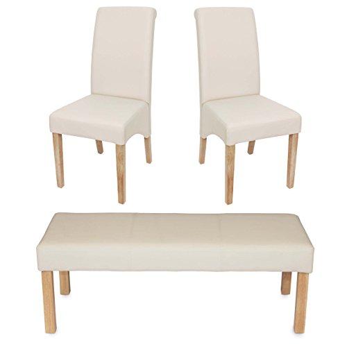 Mendler Esszimmergarnitur Garnitur M37, Bank und 2 Stühle Kunstleder ~ 120x43x49 cm Creme, helle Beine