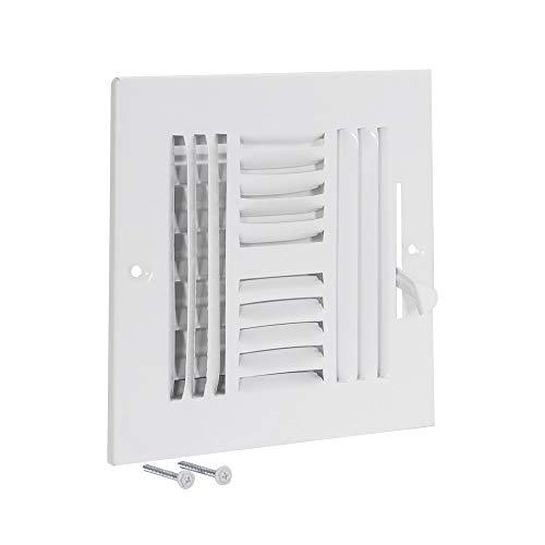 EZ-FLO 61617 Four-Way Sidewall/Ceiling Register, 6 inch x 6 inch, White