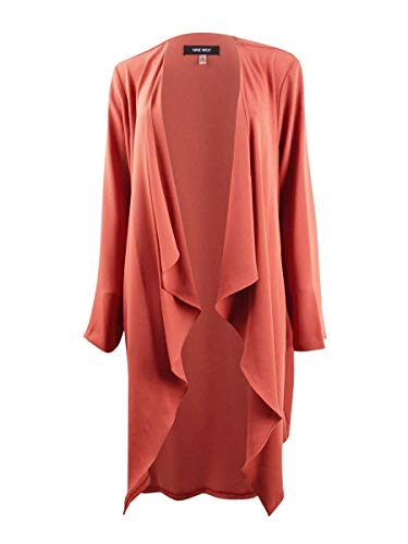 NINE WEST Womens Open Front Flyaway Cardigan Top Orange XL