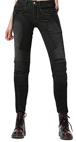 NOPEXTO Sportliche Motorrad Hose Mit Protektoren Motorradhose Mit Oberschenkeltaschen,High Stretch Motorrad Anti-Drop Hose (Schwarz,S=28)