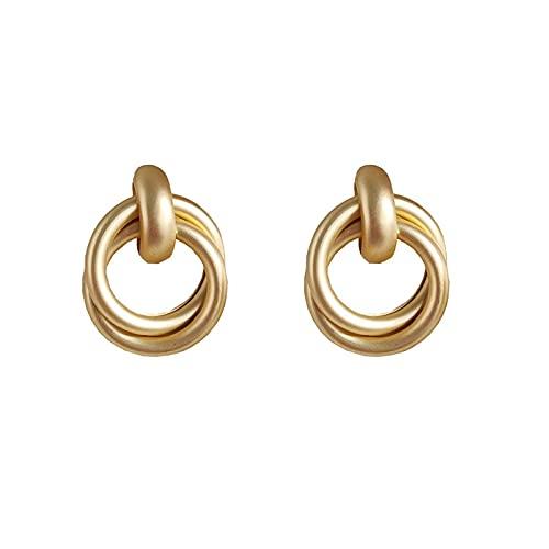 SMEJS S925 Pendientes de aro mate con aguja de plata esterlina Pendientes de torsión dorados a la moda Pendientes de aro con forma geométrica delicada para mujer, Dorado