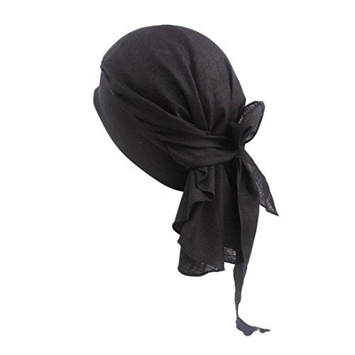 Chapeau rétro, YUYOUG Femmes Coton Lin Bandeau Chapeau Style rétro Bandeau élastique Bandeau de Pirate (Black)