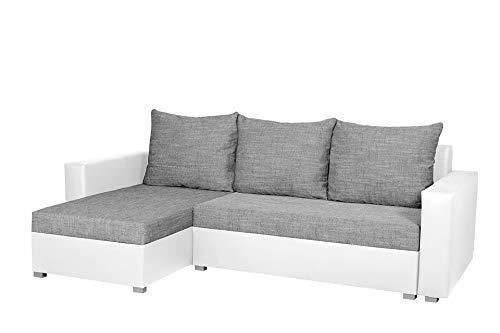 Nowak Mebliebe Universelles Ecksofa Couch Eckcouch Hugo Bett Sofa Schlaffunktion Bettfunktion 235x152x85 cm (Weiß-Grau)