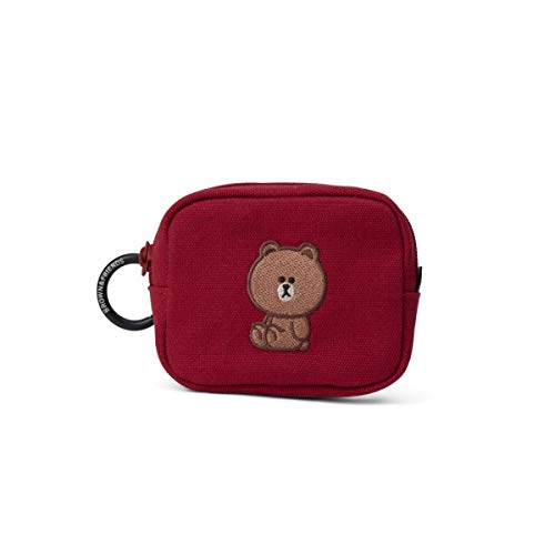 Line Friends University Collection BROWN Character Small Makeup Pouch Cosmetic Bags Travel Toiletry Bag for Women, Small, Red