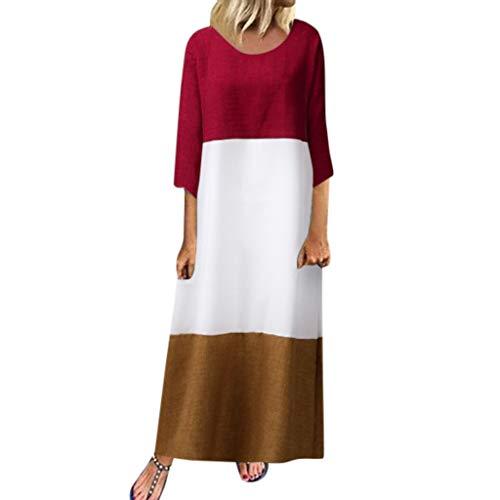 TEFIIR T-Shirt für Damen, Oktoberfest, Leistungsverhältnis Beiläufiges Spleißendes Kleid-Dreiviertelhülse Runder Ansatz-Loses Langes Geeignet für Freizeit, Dating, Strandurlaub