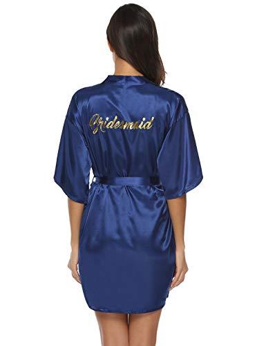 Abollria Bata para Mujer Kimono de Seda Corto para la Boda Novia Fiesta Bridesmaid Navy Azul,S