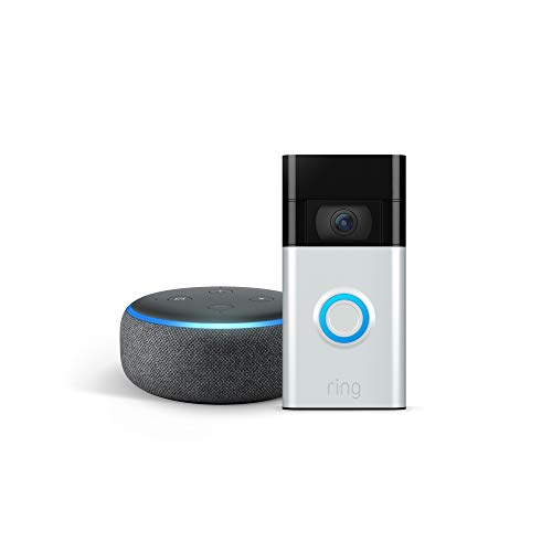 All-new Ring Video Doorbell, Satin Nickel (2nd Gen) with Echo Dot