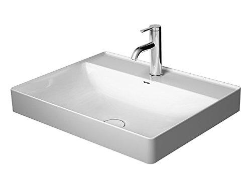 Duravit Aufsatz-Waschtisch 600mm DuraSquare Weiß, 2 Hahnlöcher Mitte, WG, 23546000401