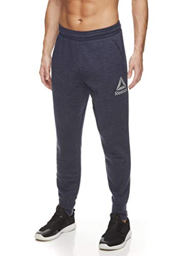 Reebok Men's Jogger Running Pants with Pockets - Athletic Workout Training & Gym Sweatpants - Navy Heather No Breaks Core, Medium