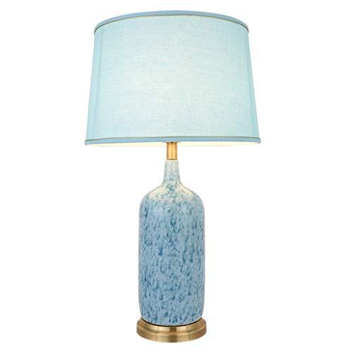 Daily Equipment Lámpara de mesa de cerámica azul Creatividad Lámpara de mesa cálida Mesa auxiliar Mesa redonda Luces decorativas E27 Luz suave Lámpara de ahorro de energía Decoraciones de la habita