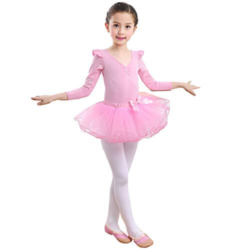 Balletjurk voor meisjes, balletpak, turnpak, lange mouwen, balletshirt, gymnastiekpak, jurk, dansen, katoen, balletbody met tule, rok, carnavalskostuum, balletkleding
