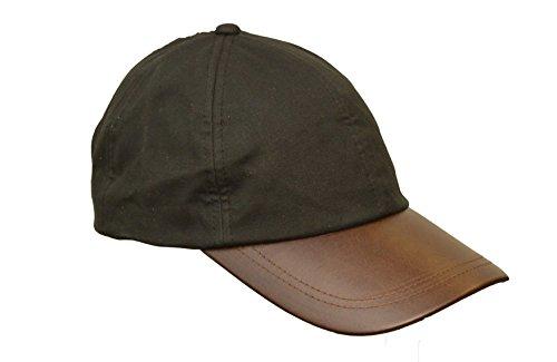 WALKER AND HAWKES Unisex Baseball-Kappe aus gewachster Baumwolle - Schirm aus Leder - Einheitsgröße Schwarz