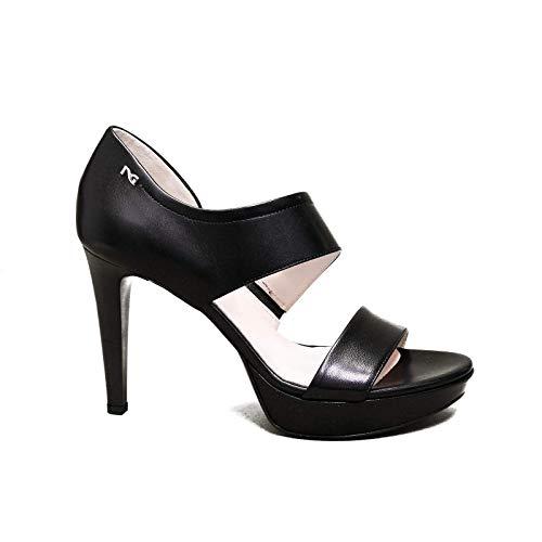 Nero Giardini elegante vrouw sandaal met hoge zwarte hakken E012810DE artikel 100 nieuwe collectie lente zomer 2020